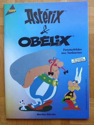 Asterix und Obelix. Fensterbilder aus Tonkarton.