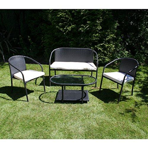 Bentley Garden - Sitzgarnitur für Garten/Terrasse - Rattan Schwarz - 4-teilig