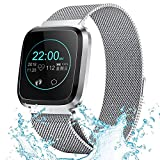 XIAYU Fitness Tracker Watch, Activity Tracker Waterproof mit Sleep Monitor.1.3 Farbbildschirm Vollmetall-Herzfrequenz-Blutdruck-Pedometer IP68,Silver