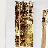 Bilderwelten Wandgarderobe Holz - Vintage Buddha - Haken Chrom - Hoch, Garderobenpaneel Holzpaneel Kleiderhaken Flurgarderobe Hakenleiste Holz Hängegarderobe inkl. Haken, Größe HxB: 100cm x 40cm