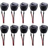 RUNCCI-YUN 10 pcs Interruptores Basculantes Redondo, interruptor basculante 2 pin,SPST interruptores basculantes,color negro,