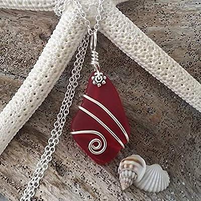 Fait à la main à Hawaii, fil enroulé collier en verre rouge mer Ruby, « Juillet Birthstone », cadeau hawaïenne, (Hawaï cadeau emballé, personnalisable message cadeau)