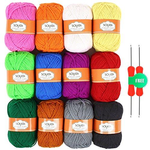 Preisvergleich Produktbild SOLEDI Premium Acrylgarn Handstrickgarn Häkelgarn Acryl zum Stricken Häkeln (12 Farben)