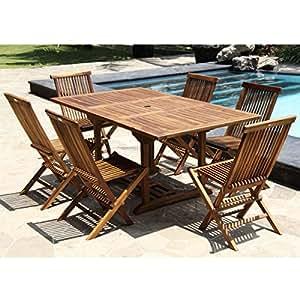 Salon de jardin en bois de teck huilé 6/8 pers - Table rect.larg 100cm long 120/170cm + 6 chaises pliantes