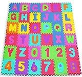 W-top 36 PCS Alfabeto Números Suave Alfombrilla de juego para niños, Actividad Puzzle Alfombras de juego...