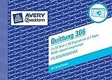 Avery Zweckform 306 Quittung, DIN A6 quer, MwSt. separat ausgewiesen, fälschungssicher, 2x 50 Blatt, weiß (2er Pack)