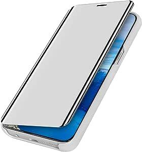 MoreChioce compatible avec Coque Samsung Galaxy A10S,Coque Miroir compatible avec Galaxy A10S,Bling Glitter Strass Chrom Bleu Housse /à Rabat Clapet Case Protective Flip Wallet Magn/étique