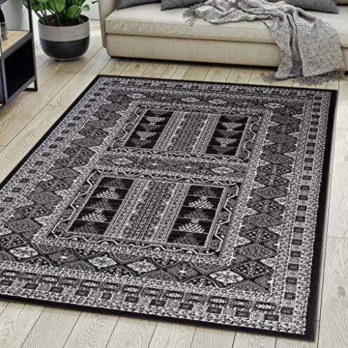 Carpeto Rugs Teppich Orientalisch Schwarz Klassisch Muster Kurzflor Öko-Tex Wohnzimmer 200 x 300 cm -