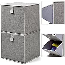 EZOWare Caja de Almacenaje de Tela con 2 niveles, Estante, Estantería,Organizador de Armario
