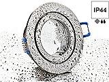 Spot IP44 Aluminium Einbaustrahler - chrom-matt rund - mit Klickverschluss und Glasabdeckung - für Feuchtraum Bad