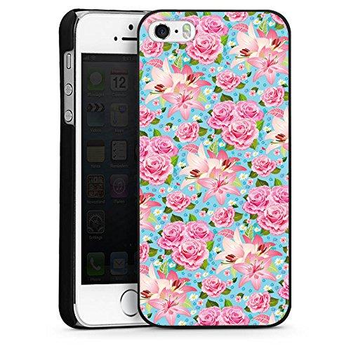 Apple iPhone 4 Housse Étui Silicone Coque Protection Roses Roses Roses CasDur noir