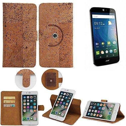K-S-Trade Schutz Hülle für ACER Liquid Z630 Handyhülle Kork Handy Tasche Korkhülle Schutzhülle Handytasche Wallet Case Walletcase Flip Cover Smartphone