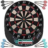 Physionics Elektronische Dartscheibe - LED-Anzeige Dartboard - Dartautomat inkl. 12 Dartpfeilen und 100 Ersatz-Pfeilspitzen - 28 Spiele und viele Varianten