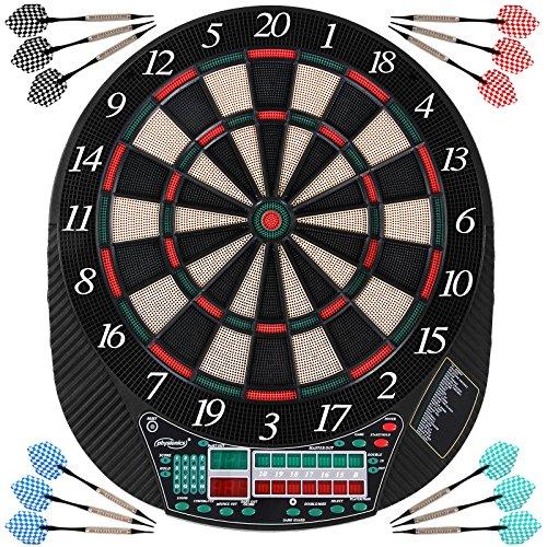 Physionics® Bersaglio per Freccette Elettronico | 28 Giochi e Molte Variazioni | INC. 12 Freccette e 100 Punte di Riserva | LCD Gioco di Freccette, Dartboard, Darts