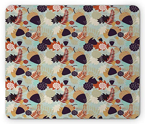 Nature Mouse Pad, Abstract Pattern with Oak Tree Leaves and Acorns Flowers Autumn Themed Illustration, Standard Size Rectangle Non-Slip Rubber Mousepad, Multicolor Acorn Leaf