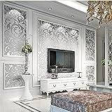 getmorebeauty Viktorianischer Damast, geprägte Struktur Tapete Rolle silber grau Vlies Wand ...