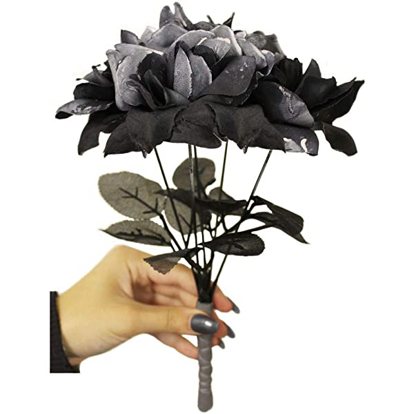 Brides Corpse Bouquet With Black Roses Halloween Fancy Dress Costume Accessory