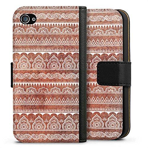Apple iPhone X Silikon Hülle Case Schutzhülle Muster Blumen Indisch Sideflip Tasche schwarz