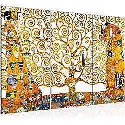 Cuadro Gustav Klimt - Tree of Life Decoración de Pared 120 x 80 cm Forro polar - Lienzo decoración de Pared tamaño XXL Salón Apartamento impresiones Artísticas Blanco 3 Partes - 100% MADE IN GERMANY - listo para colgar 700031a