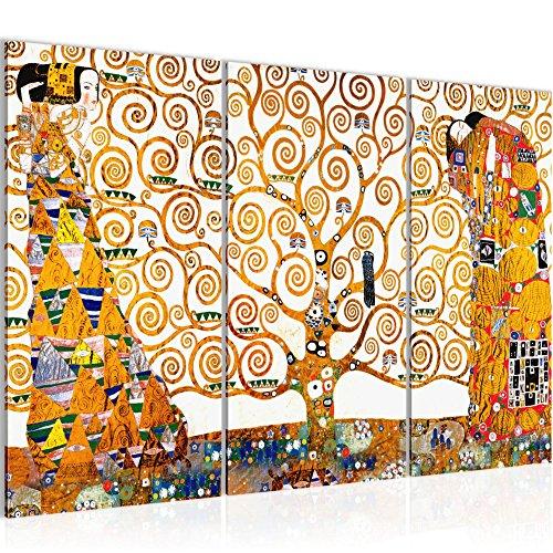 Bilder Gustav Klimt - Tree of Life Wandbild 120 x 80 cm Vlies - Leinwand Bild XXL Format Wandbilder Wohnzimmer Wohnung Deko Kunstdrucke Weiß 3 Teilig -100% MADE IN GERMANY - Fertig zum Aufhängen 700031a