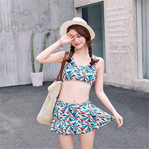 2PCS Sexy Blatt Gedruckt Bikini Crop Oberteil Top Mit Skirted Boxer Badeshorts Strandkleidung Blatt
