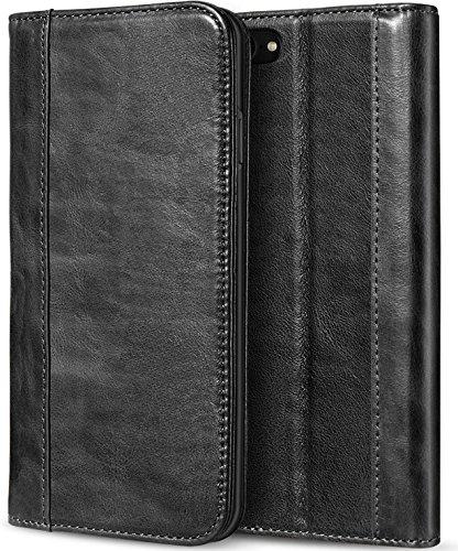 Apple iPhone 8 Echtes Leder Hülle, ProCase Vintage Geldbörse Falten Flip Case mit Kickstand und mehrere Kartensteckplätze Magnetverschluss Schutzhülle für Apple iPhone 8 2017 / iPhone 7 2016 -Schwarz - Apple Iphone Schwarz Holster
