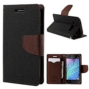 Samsung On 7 Pro Mercury Flip Wallet Diary Card Case Cover(BROWN)[COMBO OFFER]+FREE Tempered Glass By Sun Tigers