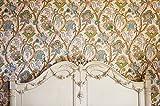 Antique Floral Papier peint avec tête de lit en bois décoré Photo Fond Digital vintage Intérieur pièce murale toiles de fond pour studio photo Booth Intérieur Shoot Prop 7× 1,5m...