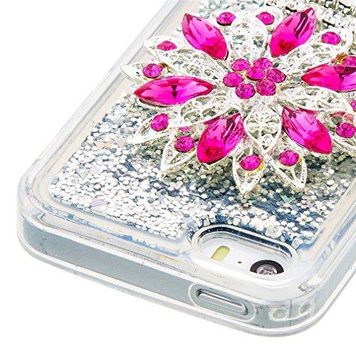 Mk Shop Limited Coque pour iPhone SE, iPhone 5 / 5S Coque,iPhone SE / 5S / 5 Gel 3D Transparent Hourglass Sables Mouvants Liquide Coque Slim Soft Etui Housse, iPhone SE / 5S / 5 Silicone Clear Case TP Multi-couleur 13
