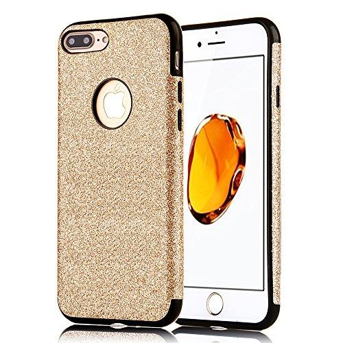 Custodia per iPhone 7Plus, Diseño Elegante CLTPY iPhone 7Plus Cover Flessibile Liscio Antiurto Luminosa Bella Protectiva Case per Apple iPhone 7Plus + 1 x Stilo Libero - Rosas de Oro A Negro Oro