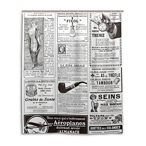 Dusche 152,4x 182,9cm, Retro Vintage Zeitung, Polyester-Schimmelfest-Badezimmer Vorhang ()
