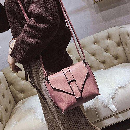 Domybest Kleine Umhängetaschen Frauen Messenger Bags PU-Leder Schulter Mädchen Handtaschen Rosa