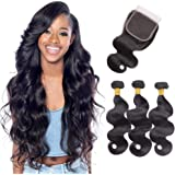 tissage bresilien en lot avec closure bresilien human hair bundles et closure body wave cheveux bresilien tissage 14 16 18+14 pouces