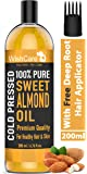 WishCare® Pure Cold Pressed Sweet Almond Oil for Hair and Skin, 200ml