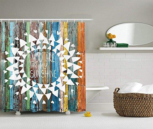 Sie sind Mein Sonnenschein auf Holzbohlen Sonnenlichter Rustikale Decor Collection Polyestergewebe Bad Duschvorhang Set mit Haken Orange Weiß Grün Gelb Blau ()