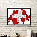 DIYthinker Karte Schweiz Abstrakte Flagge Muster Einfacher Bilderrahmen Kunstdrucke Malereien Startseite Wandtattoo Geschenk Small Schwarz