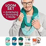 Myboshi Handarbeits-Set Loom-Set Loop-Schal Granada: Strickring + Loom-Anleitung + 3x Strick-Wolle + selfmade Label Farben: (Meerblau, Türkis, Smaragd)
