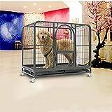 Home Pet Cage, potente jaula para perros Potente jaula de metal y caja grande para cargar con facilidad la parrilla de plástico de cuatro ruedas, sacar la bandeja y colocar la puerta ( Color : Multi-colored , Size : 125*80*102 )