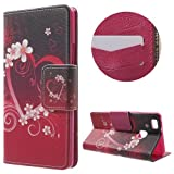 jbTec® Flip Case Handy-Hülle Book #N02 Mehrfarbig zu Huawei P9 Lite - Handy-Tasche Schutz-Hülle Cover Handyhülle Bookstyle Booklet, Motiv/Muster:Herz & Blumen H02, Modell:Huawei P9 Lite/Dual SIM
