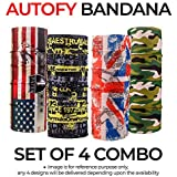 Autofy Unisex Bandana Combo Multipurpose Freesize Lycra Headwrap Riding Hair Band Motorcycle Face Mask For Men And Women (Set of 4)