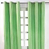 Homescapes Ösenvorhang blickdicht Karo grün weiß Dekoschal 2er Set Breite 137 x Länge 182 cm Vorhang Paar 100% Baumwolle
