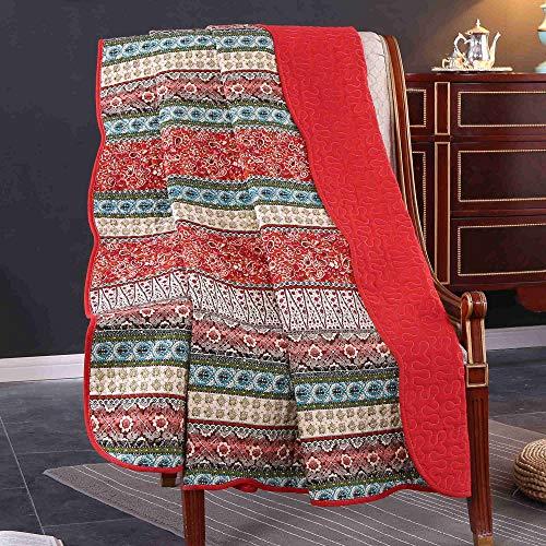 Unimall 4526629 Tagesdecke Kinder Mädchen Sofa Überwurf Patchwork Baumwolle 150 x 200 cm, Rot