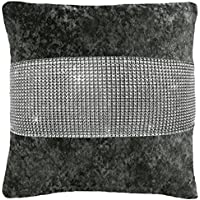 ShawsDirect Crushed Velvet Diamante Cushion Cover 43cm X 17