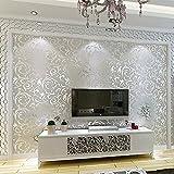 BTJC Einfache europäischen Stil Wohnzimmer Tapete TV Hintergrund Wallpaper 3D Wallpaper super dick gewebt Schlafzimmer Stereo Anaglyph , 7031 silver