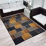 Moderner Design Kurzflor Teppich »Flicken« Patchwork-Optik meliert, Größe:200x290 cm, Farbe:grau/senfgelb
