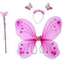 Culture Creation Fairy Butterfly Wings Costume for Girls Kids Angel for Party Set of 3 (Wings,Hairband,Stick)