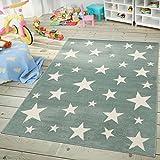Kinder- & Jugendzimmer Teppich Im Sternhimmel Design Pastell Trend Türkis Weiß, Größe:160x220 cm