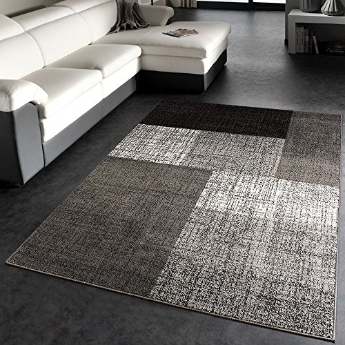 PHC Designer Teppich Modern Kariert Kurzflor Design Meliert in Grau Creme Braun