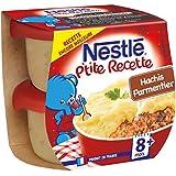 Nestlé Bébé P'tite Recette Hachis Parmentier - Plat Complet dès 8 Mois - 2 x 200g - Lot de 8