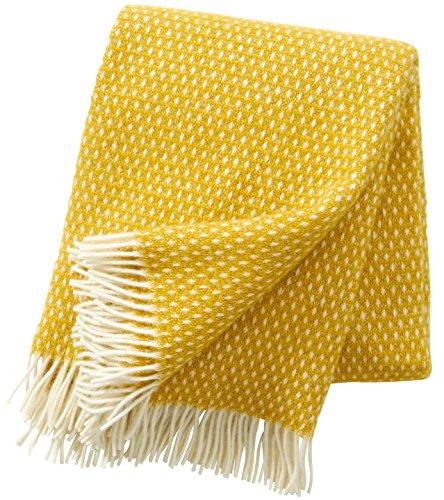 KLIPPAN: Creme-gelbe Wolldecke 'Knut saffron' 130x200cm aus 100% Lambswool, ca 900 g